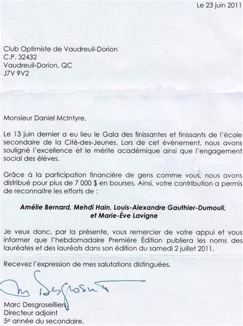 Exemple Lettre De Remerciement Commandite Club Optimiste Vaudreuil Dorion Inc D C Q Optimist