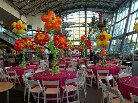 tropical themed events hawaii party with hibiscus flower balloon centerpiece