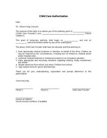 Authorization Letter For Child child care authorization hashdoc child care letter