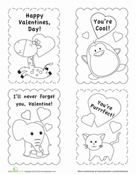 valentines day card template s day card templates worksheet education