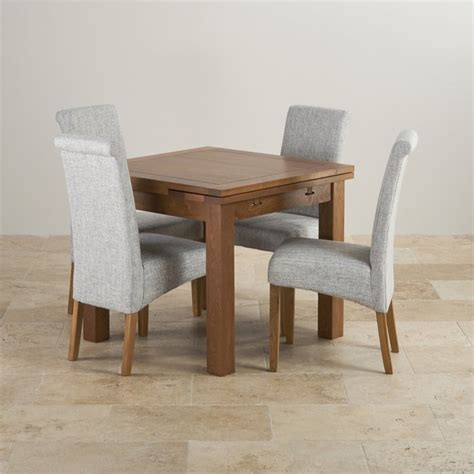 Oak Dining Table And Fabric Chairs Rustic Oak 3ft Dining Table With 4 Grey Fabric Chairs