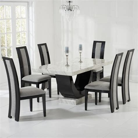 marble table dining room sets marble dining set in and black with 6 grey