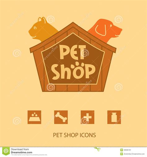 shoo for dogs logo with animals for pet shop cat and in the stock vector image 49595701
