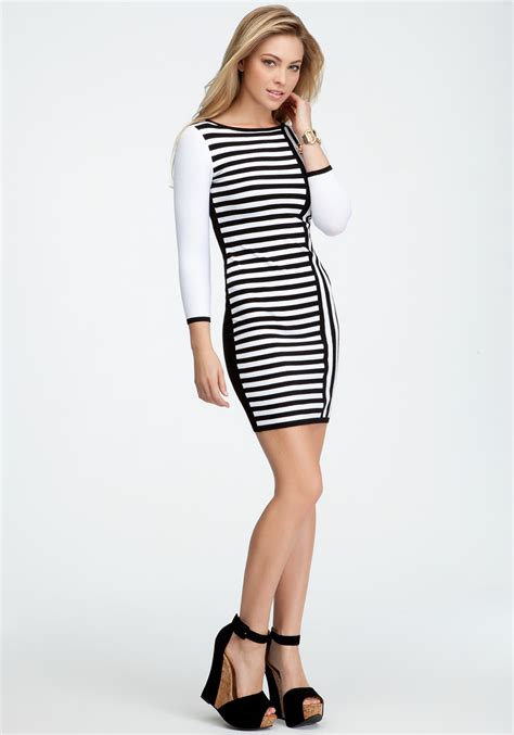 Lq 02 Ress Sweater Yiyo White bebe contrast stripe sweater dress in white lyst