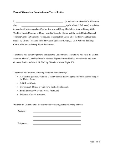 Permission Letter B Ed 2015 Letter Of Permission To Travel Free Printable Documents