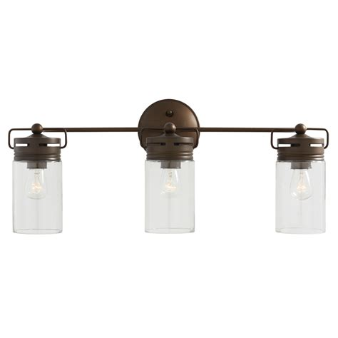 Vanity Bathroom Light Shop Allen Roth Vallymede 3 Light 10 2 In Aged Bronze Cylinder Vanity Light At Lowes