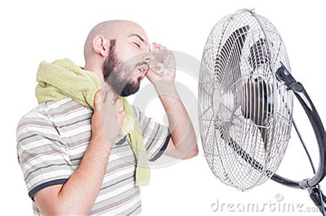 what is the best fan that blows cold air man his head with cold water bottle and fan stock