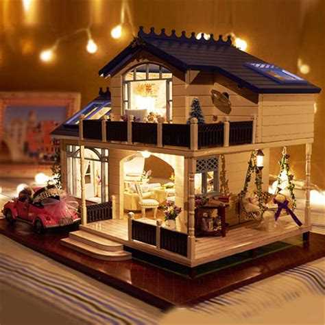 model doll house assembling diy model kit wooden doll house romantic provence house miniature toy with