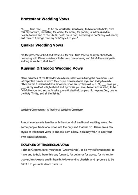 Wedding Vows In Sickness by Traditional Wedding Vows