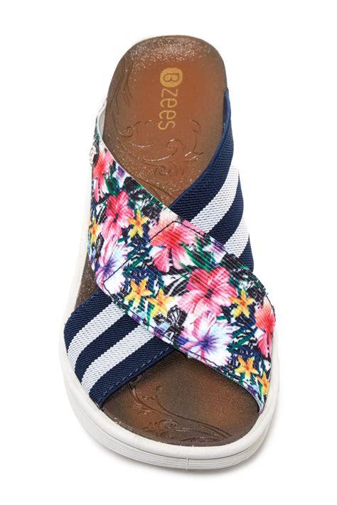 St Wedges Cross Striper Set Wedges Striper Vic bzees desire stripe floral wedge sandal in blue lyst
