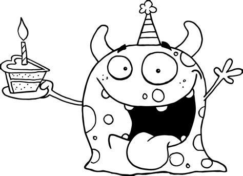 Monster Birthday Coloring Page | printable happy monster celebrates birthday for kids