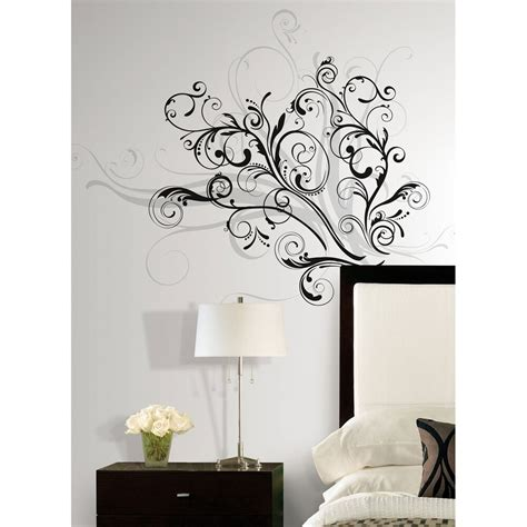 wall decals rooms new modern black silver swirls wall decals contemporary decor home stickers ebay