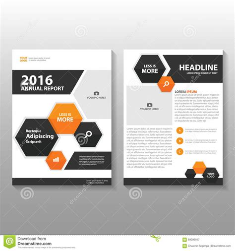 layout workbook pdf free download orange black hexagon vector annual report leaflet brochure