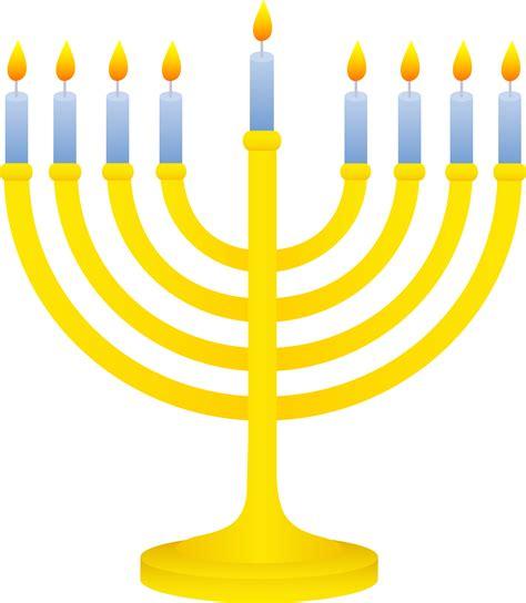 hanukah menorah golden menorah with lit candles free clip