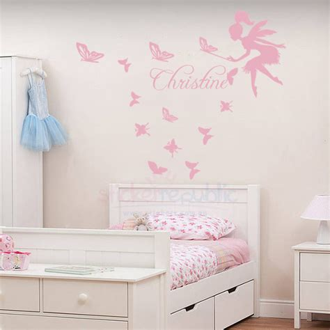 Custom Wall Murals From Photo custom girl s name with fairy and butterfly wall decal sticker