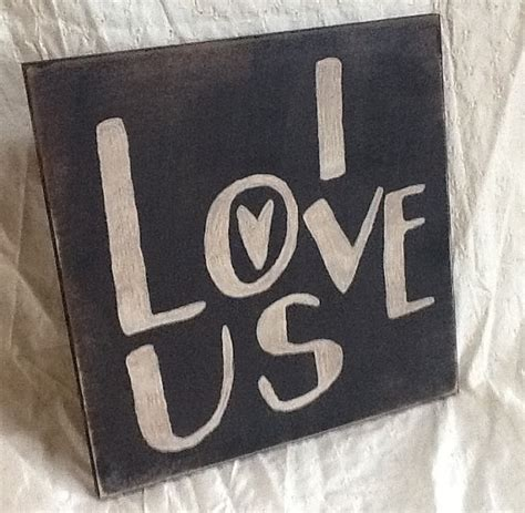 home decor love sign i love us primitive sign home decor wood sign wedding