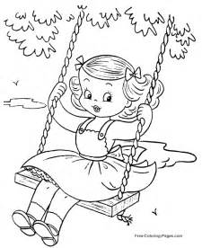 summer coloring book sheets swinging 28