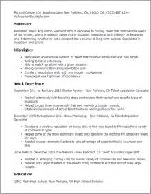 Talent Resume Format by Professional Talent Acquisition Specialist Templates To Showcase Your Talent Myperfectresume