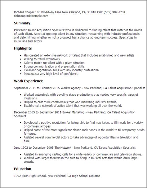 Talent Resume Template by 1 Talent Acquisition Specialist Resume Templates Try