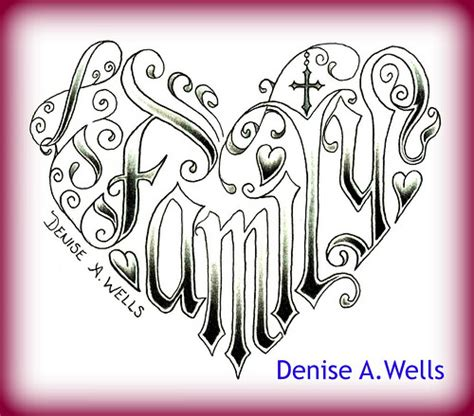 word family made into a heart shaped tattoo design by deni
