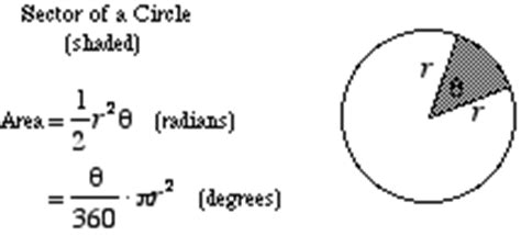 area of a section of a circle formula mathwords area of a sector of a circle