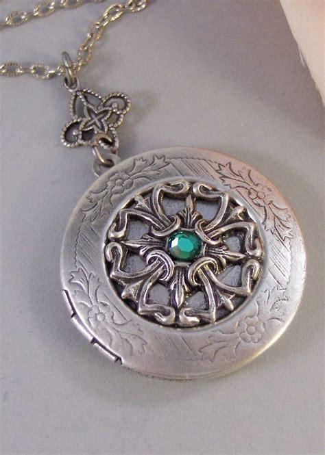 Handmade Lockets - tailsman emerald antique locket silver locket