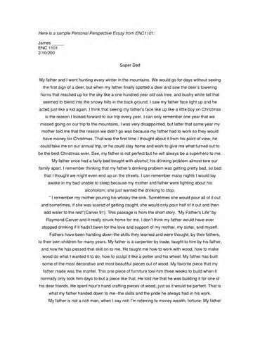 Personal Essays Disability by Here Is A Sle Personal Perspective Essay From Enc1101