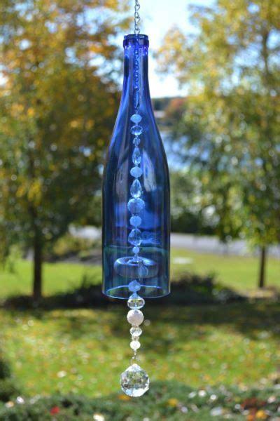 wine bottle wind chime blue wine glass bottles art