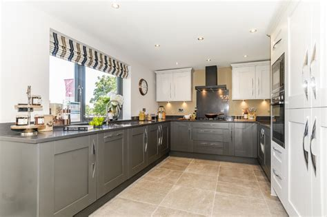 Savoy Shaker Painted In Light Grey And Lava With Silestone Light Grey Shaker Kitchen