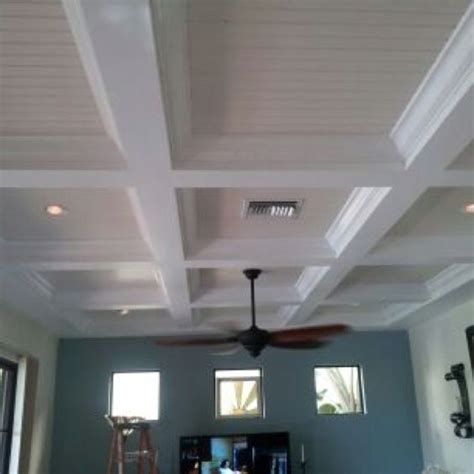 How To Make A Tray Ceiling With Crown Molding Our Completed Tray Ceiling With Bead Board And Crown