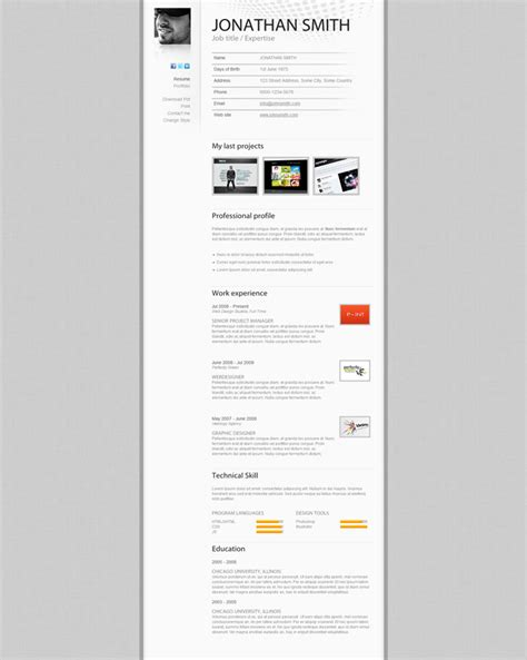 web design curriculum vitae a few interesting resume cv website designs