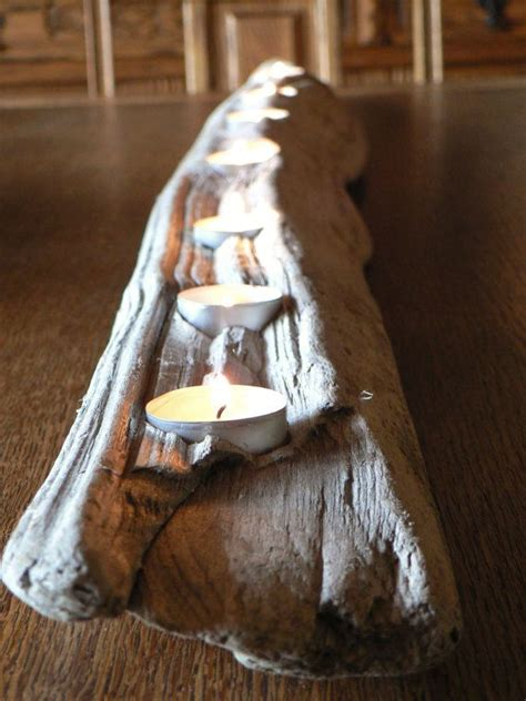 rustic driftwood 7 votive candle centerpiece large