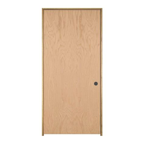 Jeld Wen Woodgrain Flush Unfinished Red Oak Single Prehung | jeld wen 30 in x 80 in woodgrain flush unfinished red