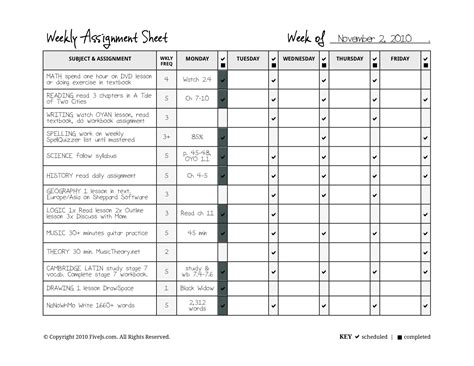 daily assignment sheet template expin franklinfire co