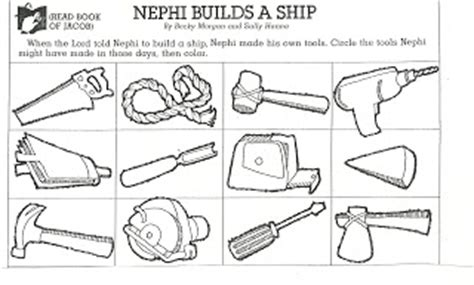 lds coloring pages nephi builds a ship lds coloring pages nephi builds boat