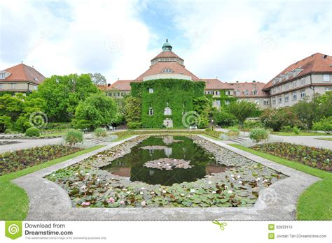 Water Lily Pond In Front Of Botanical Institute Building Munich Botanical Gardens