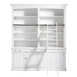 White Wooden Bookshelves Wooden Bookcase With Ladder In White W 200cm Amandine