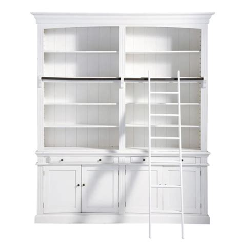 Wooden Bookcase With Ladder In White W 200cm Amandine White Wooden Bookcase