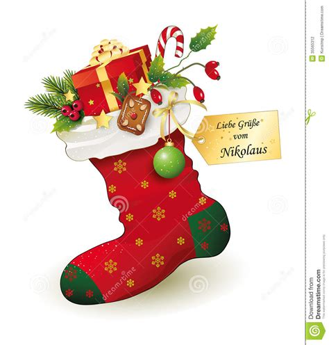 red christmas stocking with gifts stock photography
