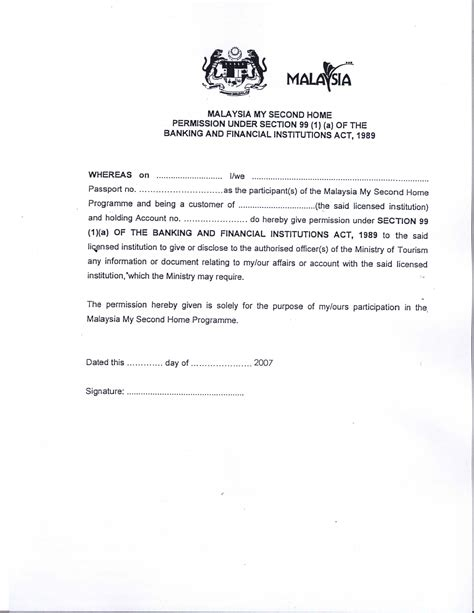 Authorization Letter Malaysia Malaysia Visa Application Letter Writing A Re Papervisa