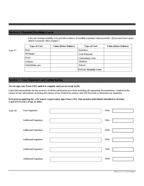 section 4 annulment application uscis fee waiver form i 912 free download