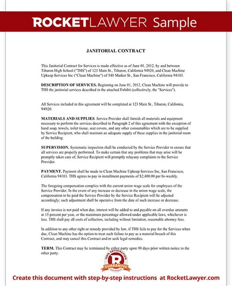 Cleaning Service Agreement Letter Janitorial Services Contract Janitorial Contract With Sle