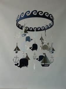 Nautical Baby Shower Theme Decorations - baby mobile sailboat ocean creature sea baby mobile navy gray