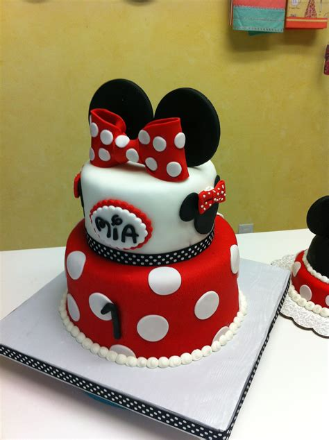 Office Set Design Red Minnie Mouse First Birthday Cake Birthday Cake Ideas