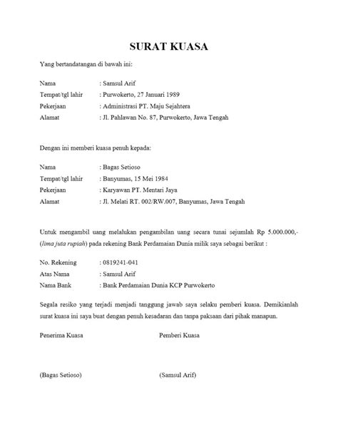 contoh format surat kuasa pengambilan uang di bank contoh surat kuasa pengambilan uang contoh surat org