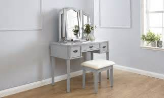 Grey Vanity Table Dressing Table Set Makeup Vanity Desk W Stool 3 Mirrors Grey Ebay