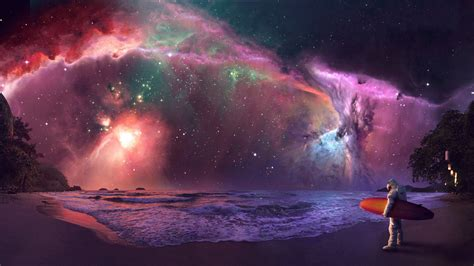 colorful sky wallpaper 25 surfing astronaut under the colorful night sky hd