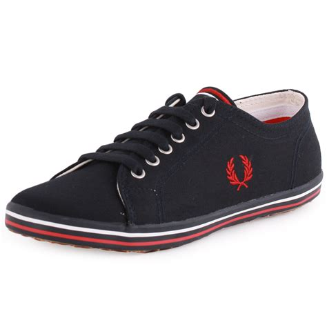 fred perry shoes fred perry kingston b3176w womens canvas navy trainers new