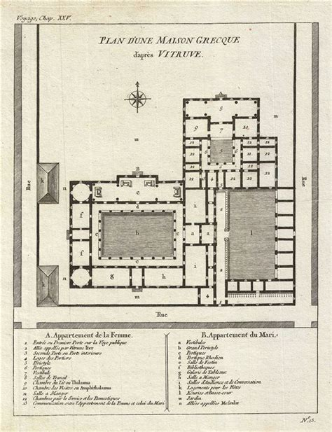 ancient greek house plan plan d une maison grecque d apres vitruve geographicus rare antique maps