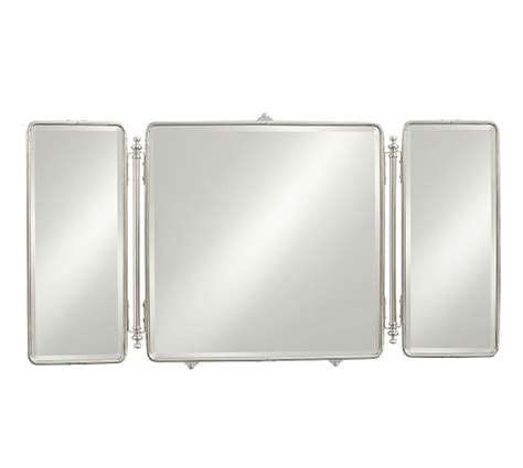 tri fold bathroom wall mirror vintage tri fold mirror pottery barn